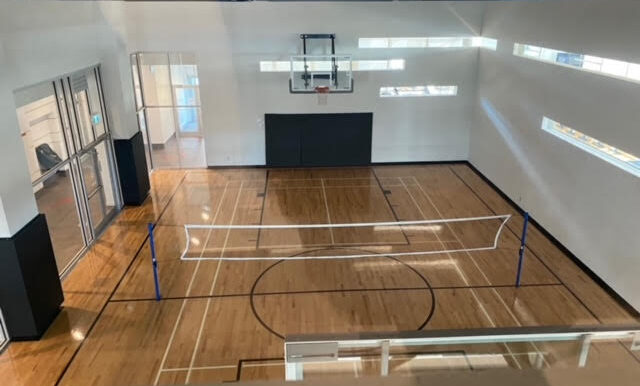 Basketball and badminton court